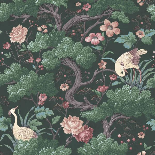 Small Hallway Makeover Plans & Top Tips To Decorate Your Own | Crane Bird in Forest Green Wallpaper - Woodchip & Magnolia. Nature inspired design for our small hallway decor.