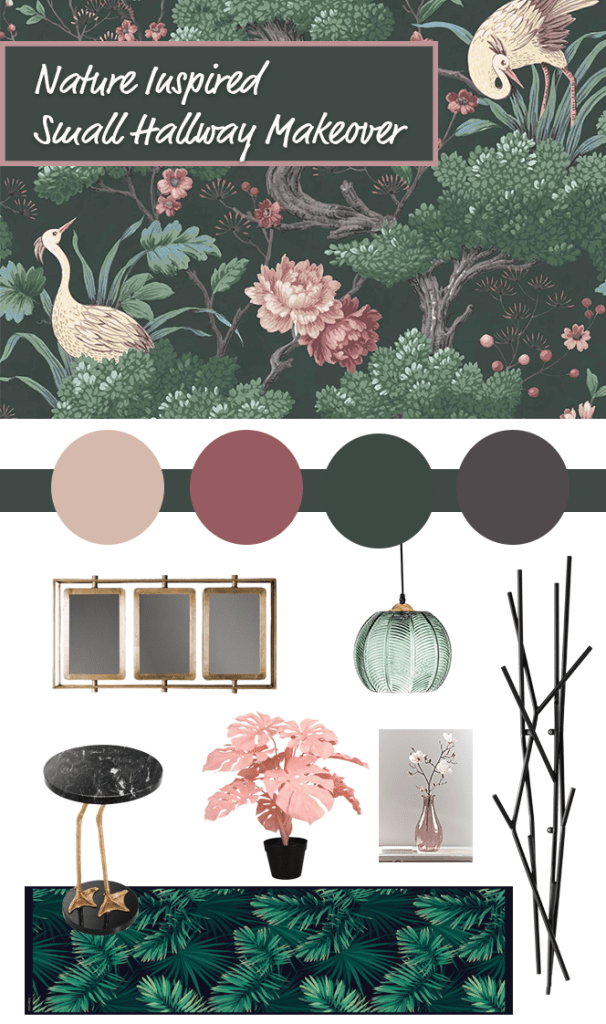 Small Hallway Makeover Plans & Top Tips To Decorate Your Own   Moodpboard based around nature inspired wallpaper, Crane Bird in Forest Green Wallpaper - Woodchip & Magnolia for our small hall, stairs and landings.