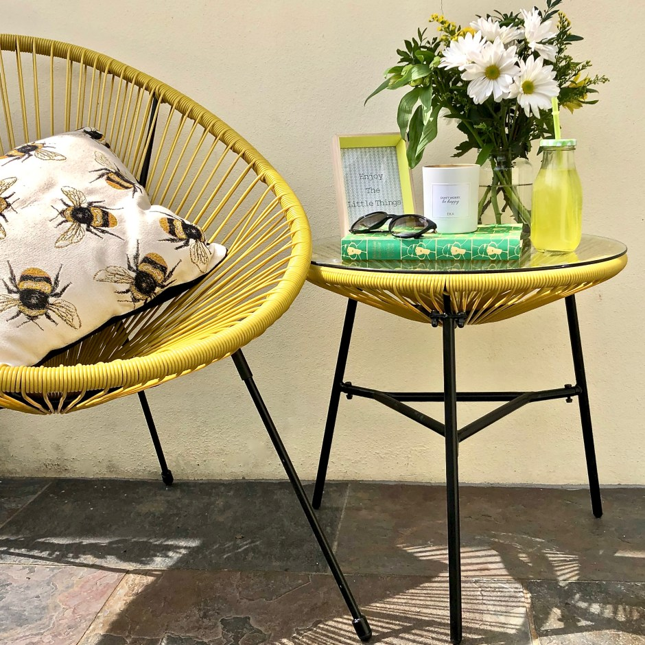 The Perfect String Garden Furniture Set For Summer Days - Mustard yellow string set that will brighten up your patio or garden spaces as well as being versatile for indoor use during colder months. Sue Ryder| If you're looking to update your home/garden on a budget and or want to shop with a conscience, Sue Ryder's online shop may just be your new place to shop.