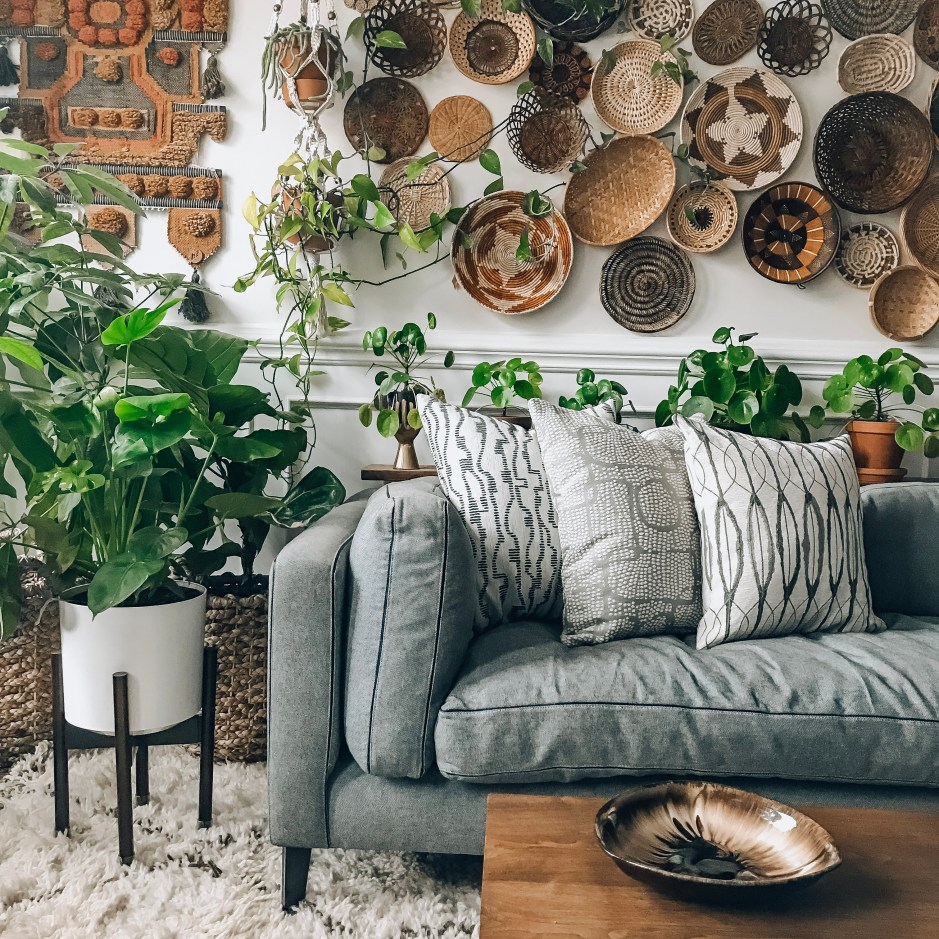 The Botanical Modern Boho Home of Judy Lynch | One area of Judy's home that speaks for itself in terms of creating interest with her ability to thrift is her amazing basket wall. It's evolved over time and has been a labour of love. Turning a blank white wall into a textural masterpiece of woven delights.