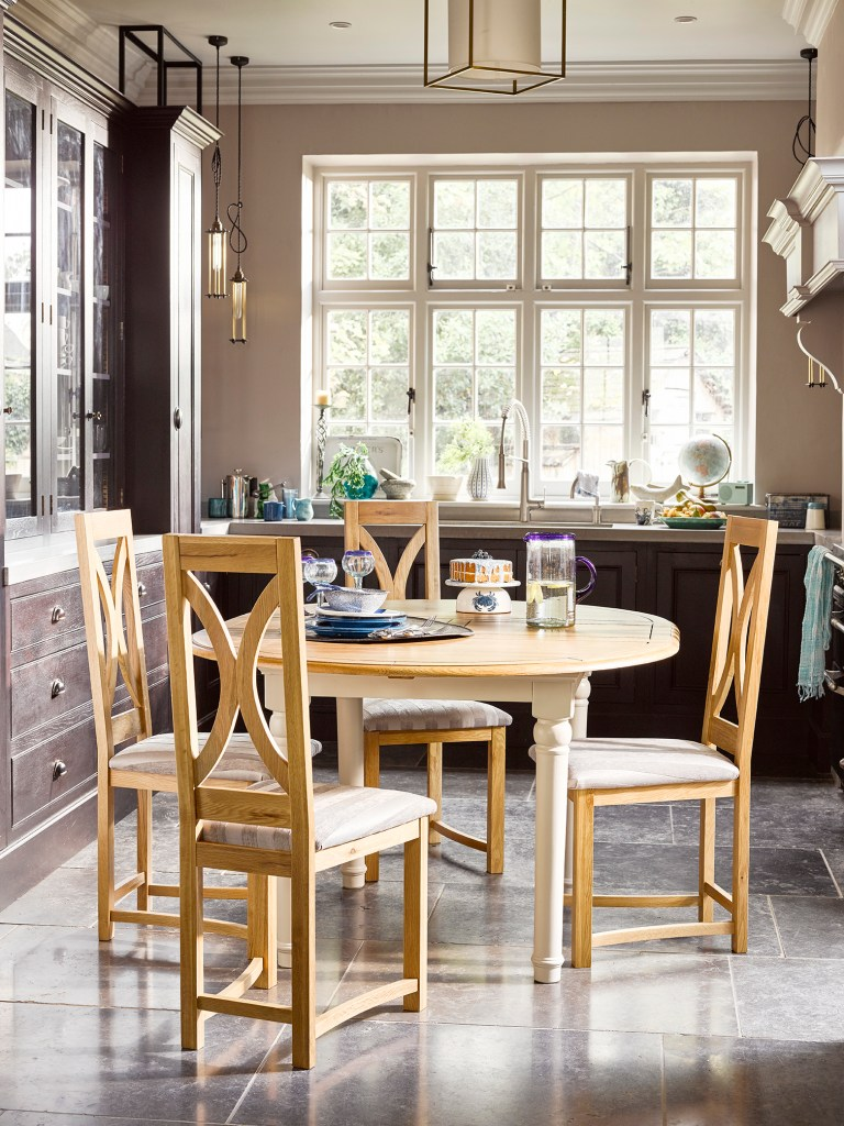 How To Choose The Perfect Dining Table For Your Home | Circular tables offer the best solution for smaller rooms. This Shay Rounding dining table is from Oak Furniture and looks great in kitchen dining rooms.
