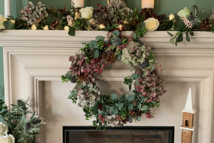 Long-Lasting Christmas Decor With Sue Ryder - Christmas fireplace garland and wreath using Sue Ryder's faux eucalyptus garland and wreath.