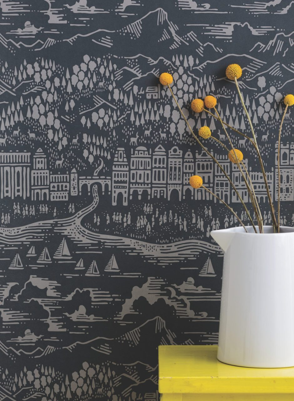 'Province' Town & Country Wallpaper in Graphite - Bold & Noble