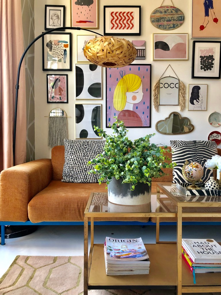 The Artful Play of Pattern & Eclectic Decor - Sarah Hubbard - House Tour - Gallery wall of @nudeandthenovice
