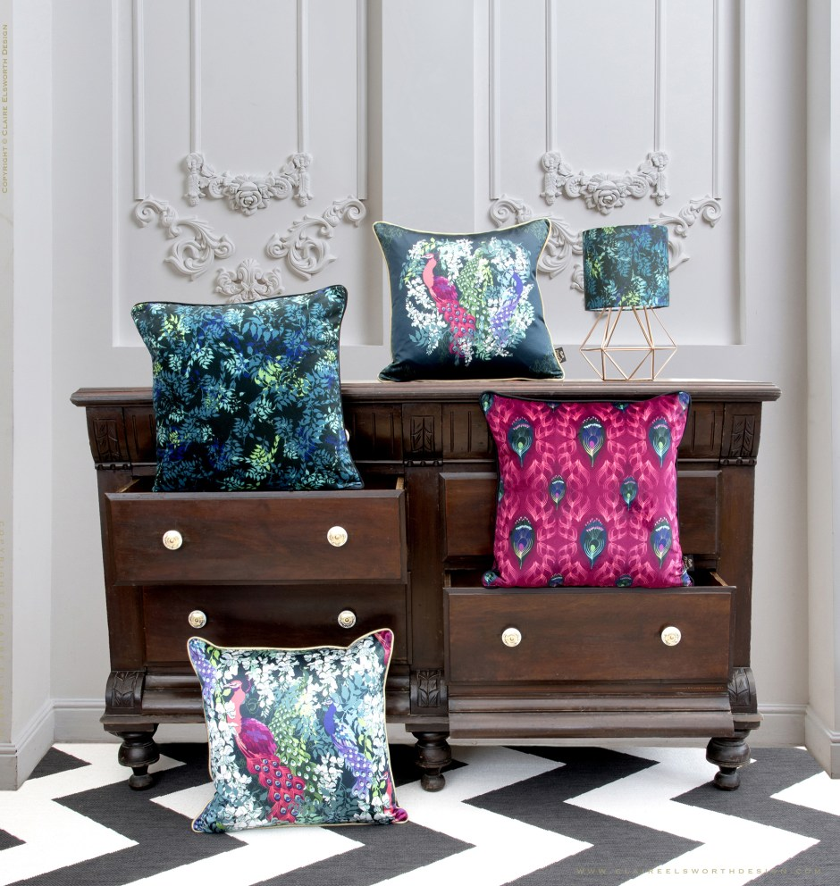 'Peacock Maximalist Collection cushions from Claire Elsworth Design, Maximalist Luxury Decor