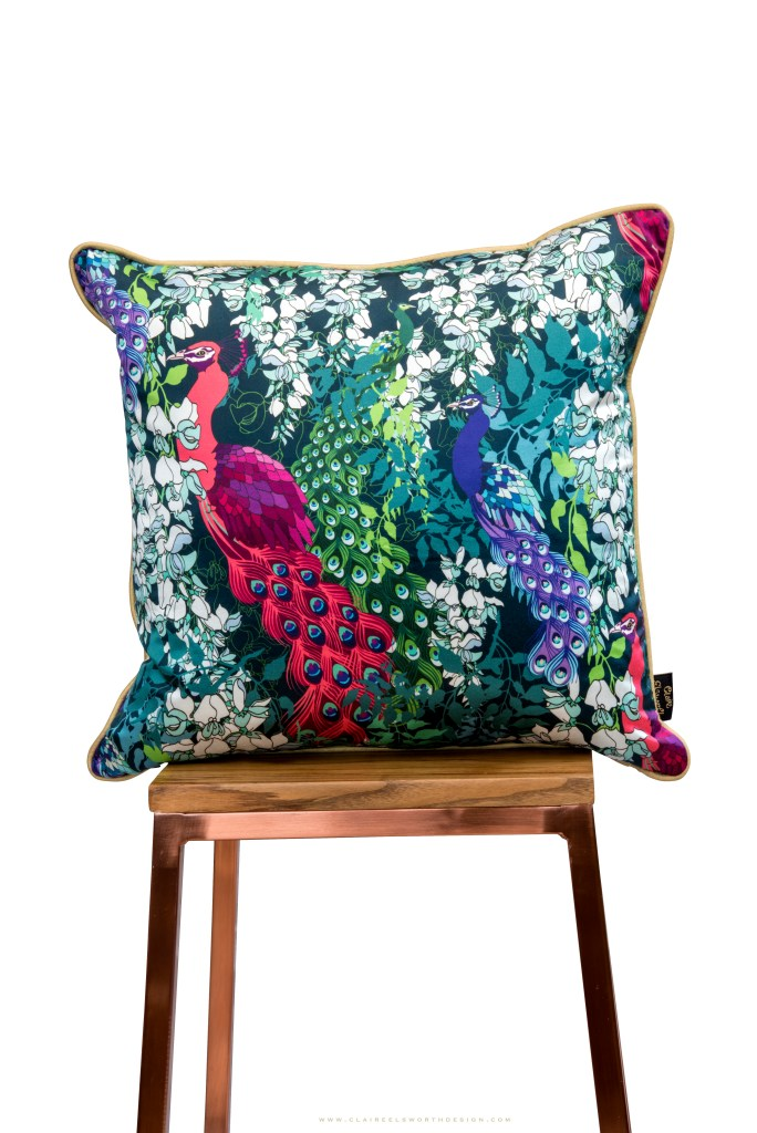 Maximalist Luxury Home Decor - Claire Elsworth Design | Peacock Maximalist Cushion - Peacock Maximalist Collection - Claire Elsworth Design