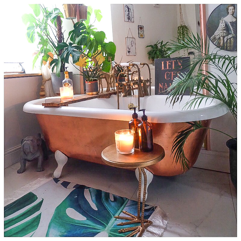 The Creative Eclectic Home of Gold Leaf Queen - Lara Bezzina - copper leafed reclaimed roll top bath