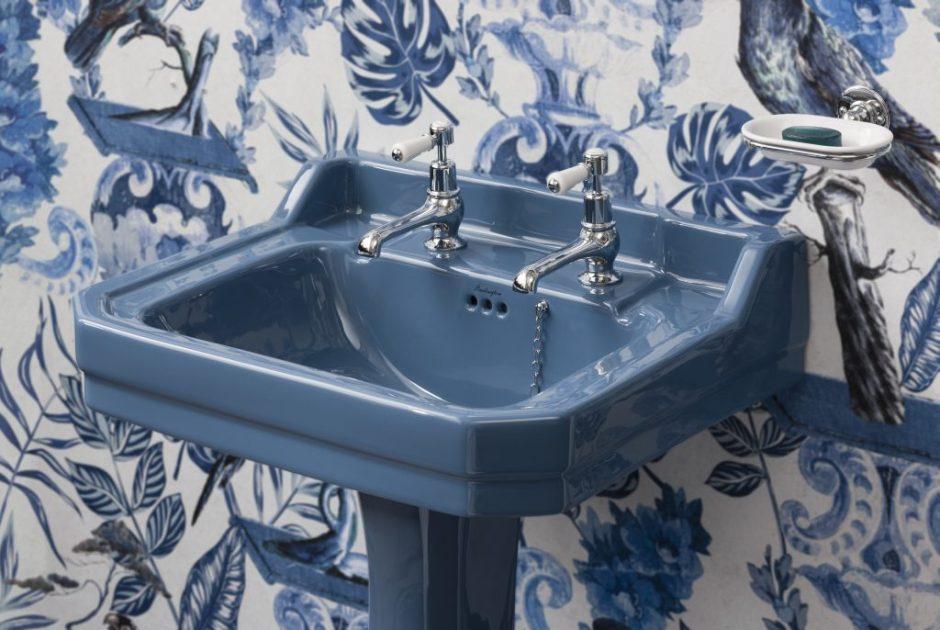 Unique Bespoke Traditional Bathroom Sanitary Ware by Burlington - Alaska Blue Edwardian wash basin and pedestal