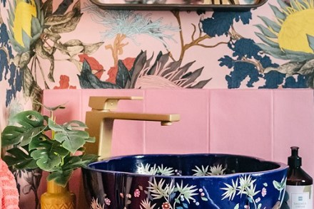 GRACIE Pretty Blue Botanical Countertop Bathroom Wash Basin Sink - The Way We Live London