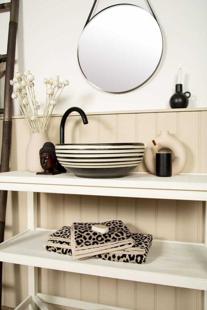 LAURENCE Black & White Monochrome Handmade Countertop Bathroom Wash Basin Sink - The Way We Live London