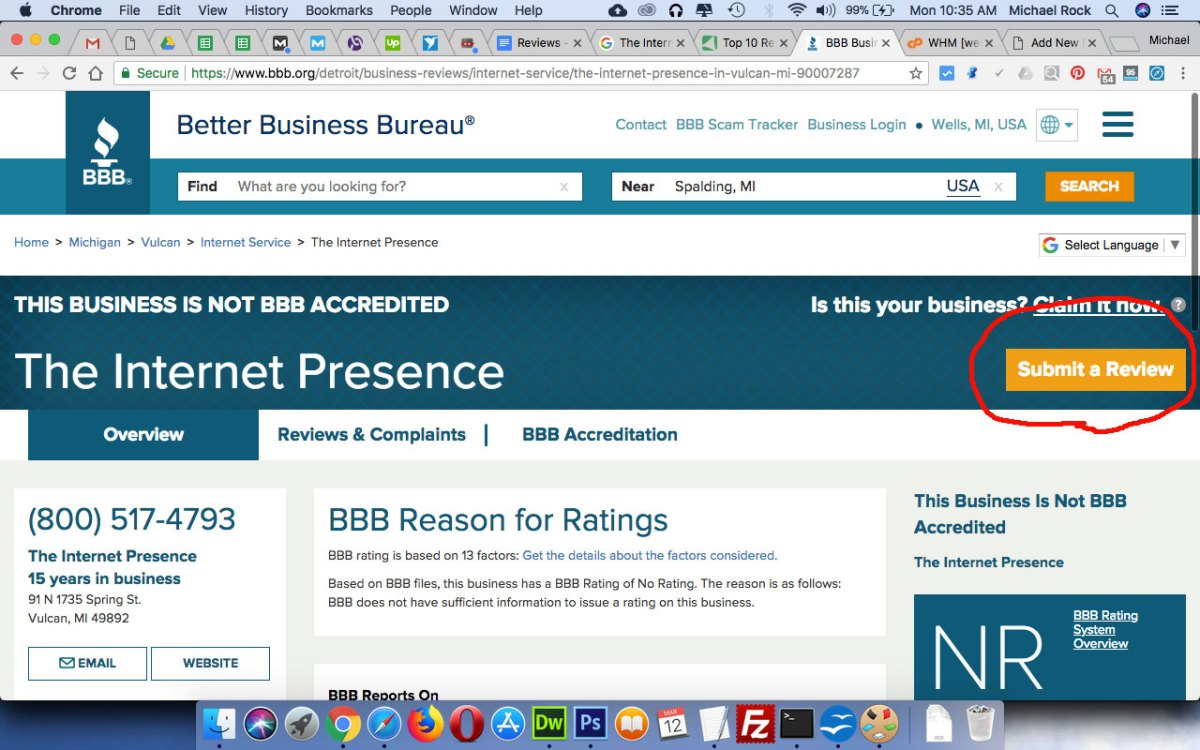 The Internet Presence review at Better Business Bureau