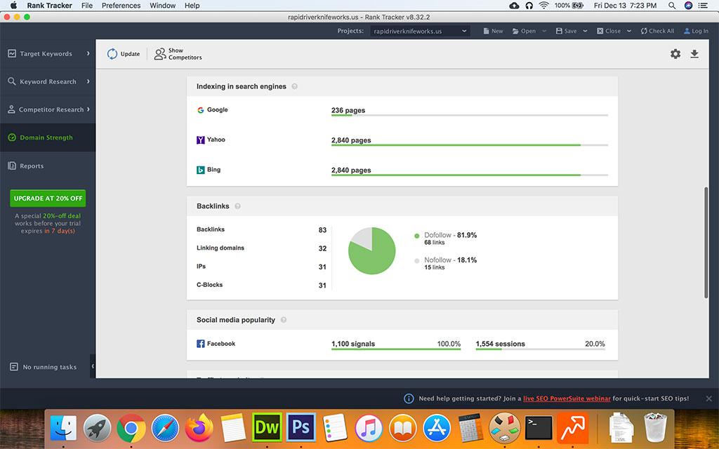 Screenshot of SEO Powersuite Ranking Tracker Domain Strength