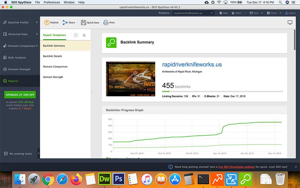 Screenshot of Seo Powersuite SEO Powersuite Spyglass Backlink Reports