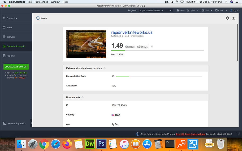 Screenshot of SEO Powersuiter Link Assistant Domain Strength