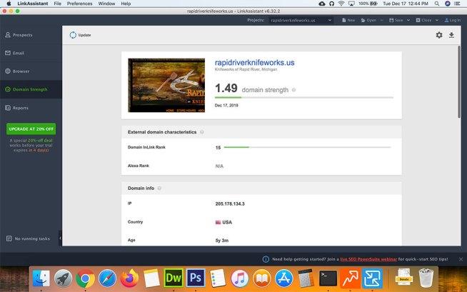 Screenshot of SEO Powersuiter LinkAssistant Domain Strength