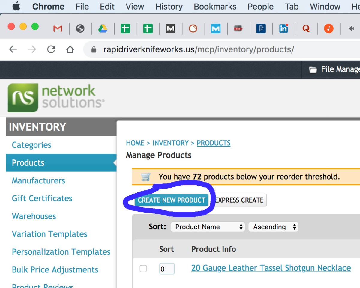 Creating a new product on Network Solutions shopping cart