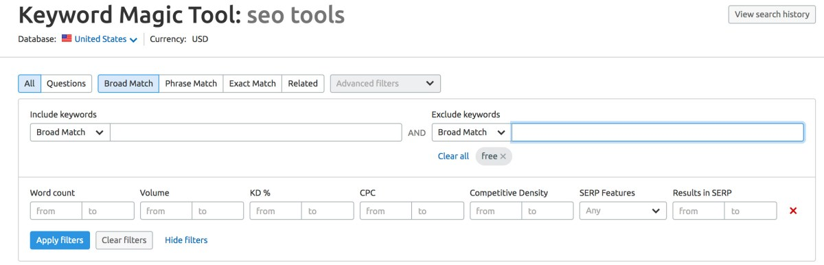 Filter option on SEMRush's Keyword Magic Tool