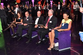 Olga Piqueras and the team of panelists judging the Karaoke competition