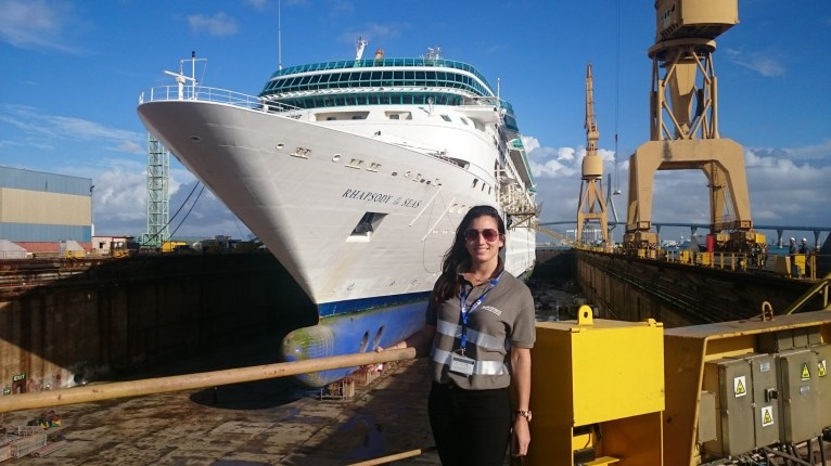 Nohemi Alcaucer with the Royal Caribbean's Rhapsody of the Seas during Intercruises first dry-dock logistics coordination job