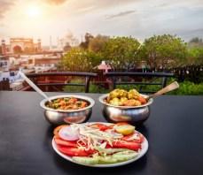Aloo Gobi, Sabji Masala and green salad Traditional Indian food