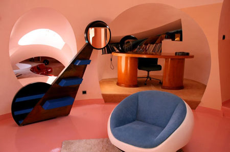 The interior of Lovag's Bubble House
