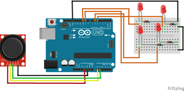 Circuit Diagram of Arduino Tutorial to Control LEDs using Joystick