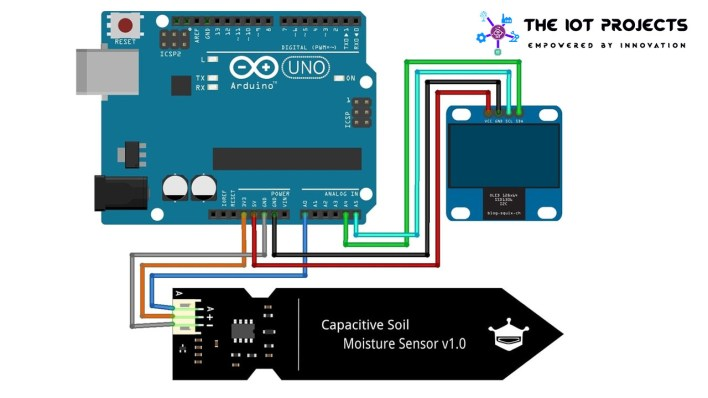 Circuit diagram of Capacitive Soil Moisture Sensor with OLED Display  Arduino