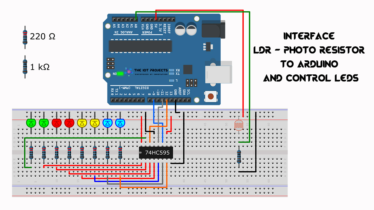 Interface LDR Photo Resistor to Arduino and Control LEDs