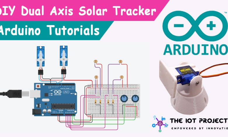 Dual Axis Solar Tracker Arduino Project Using LDR & Servo Motors