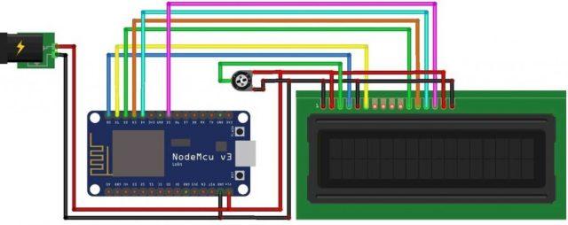 Circuit Diagram of IoT Web Controlled Smart Notice Board using NodeMCU ESP8266