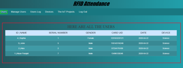 RFID Based Attenance System Using NodeMCU Users