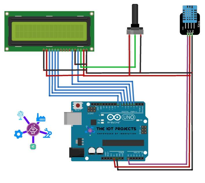 Interface DHT11 Sensor with Arduino and LCD Display