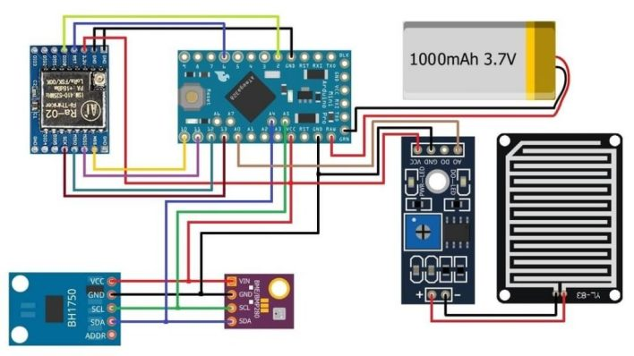 Circuit Diagram LoRa Based Wireless Weather Station using Arduino and ESP32