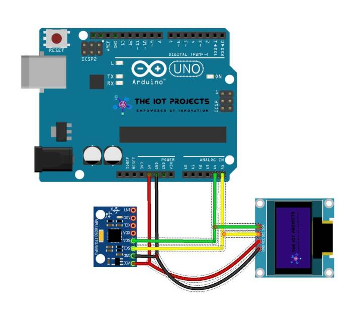 Circuit Diagram of Measure Pitch Roll and Yaw Angles Using MPU6050 and Arduino