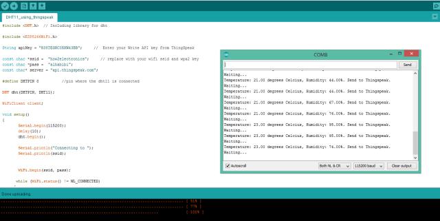 DHT11 sensor data monitor on Serial Monitor