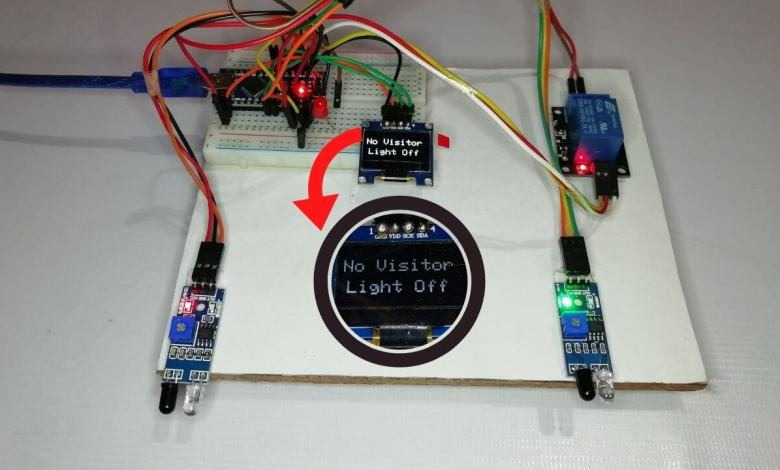 Bidirectional Visitor Counter & Automatic Light Control using Arduino