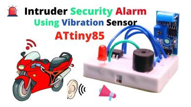Intruder Security Alarm using Vibration Sensor and Attiny85