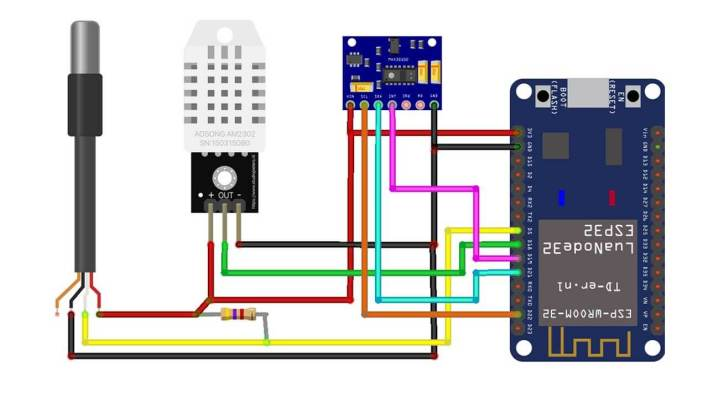 Circuit Diagram of ESP32 based Patient Health Monitoring System