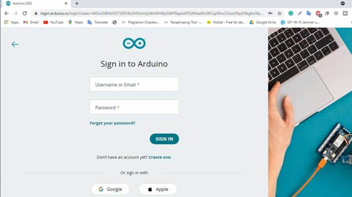Signup or Login to Arduino Cloud for IoT