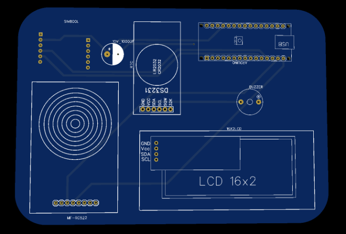 Front PCB for RFID based Attendance System using Arduino & SIM800L Module