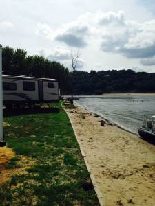 The campground on South Sabula Lake is positioned right on the beach with bluffs in the foreground. Sabula, IA.