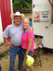 The master smoker and his loving wife! You better be planning your trip! At Uncle Pat's Backyard BBQ near Clinton, IA.
