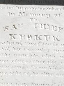 All four sides of the Chief Keokuk memorial give description of this great warriors life.