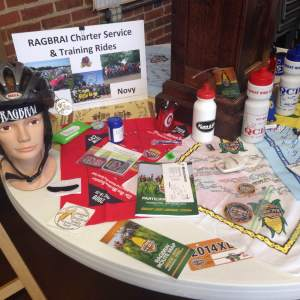 A table of authentic RAGBRAI memorabilia from QCBC years past.