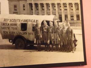 Give your thanks to a Boy Scouts troop that traveled the country and volunteering their time to put up mile markers throughout America's highway system. One of the surviving members was invited back to Colo many years later to celebrate the centennial celebration of the highway that was platted the same year he was born.