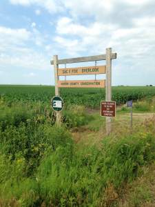 The Sac and Fox overlook is down a windy gravel road that cuts in between corn fields. You don't expect to see what the overlook provides by judging the path it takes to get there.