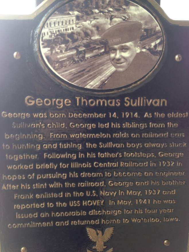 A plaque of each Sullivan brother lost on the Juneau.