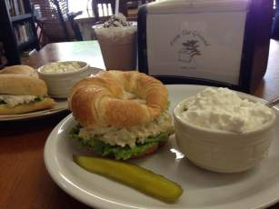 Classic Midwestern sandwiches and sides. Chicken salad on a buttery croissant with cottage cheese and tuna salad on ciabatta with coleslaw. That's classic Iowa fare 101, my friends.