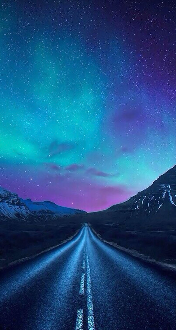 Aurora Borealis A Road The IPhone Wallpapers