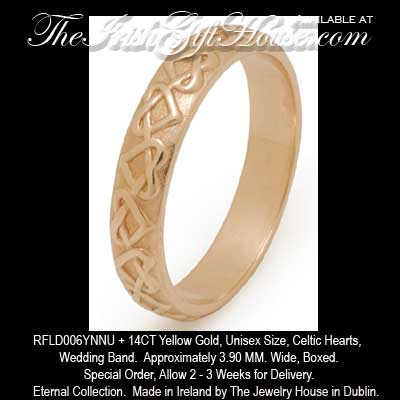 TJH 14K Gold Ladies Or Mens Celtic Hearts Wedding Band